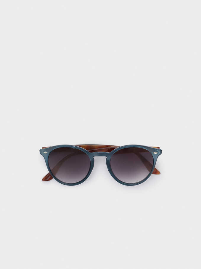 Sunglasses With Round Frames, Blue, hi-res