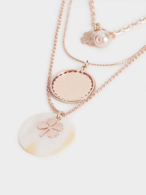 Pink Desert Set Of Necklaces With Pendants, Orange, hi-res