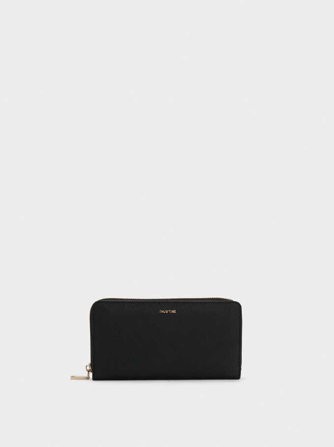 Plain Long Wallet, Black, hi-res