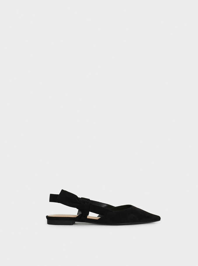 Slingback Shoes With Bow, Black, hi-res