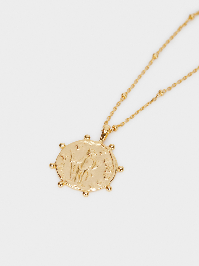 Short 925 Silver Pendant Necklace, Golden, hi-res