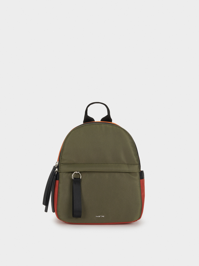 Nylon Backpack, Khaki, hi-res