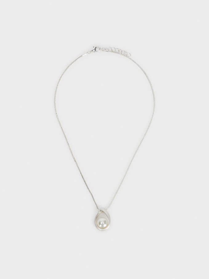 Short Necklace With Pearl Bead, Silver, hi-res
