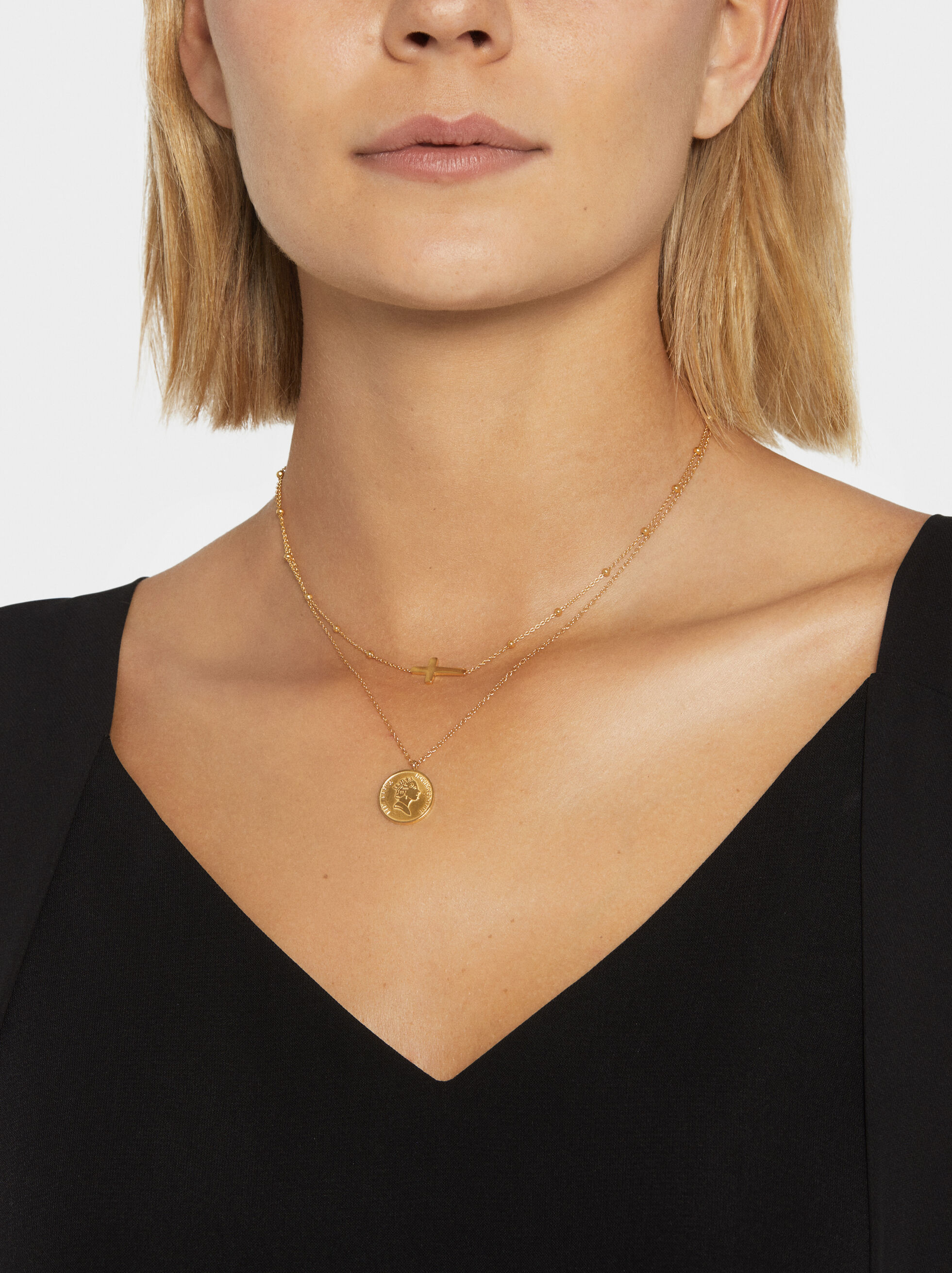 Steel Medallion Necklace, Golden, hi-res