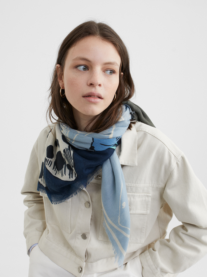 Fish Print Scarf, Blue, hi-res