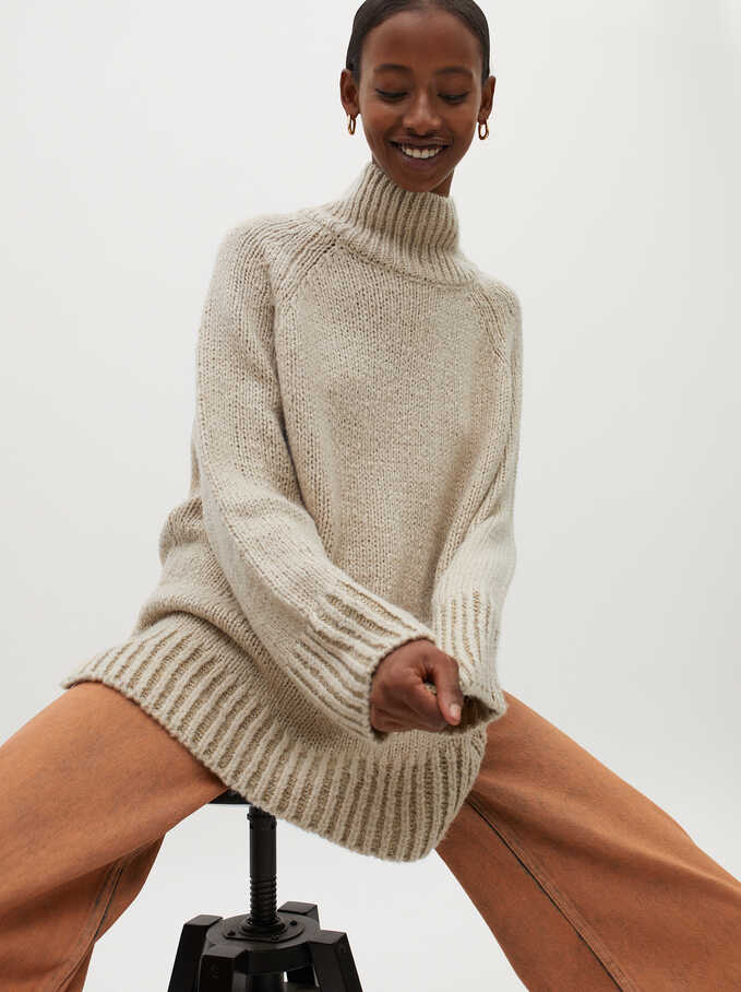 High-Neck Knit Sweater, Beige, hi-res