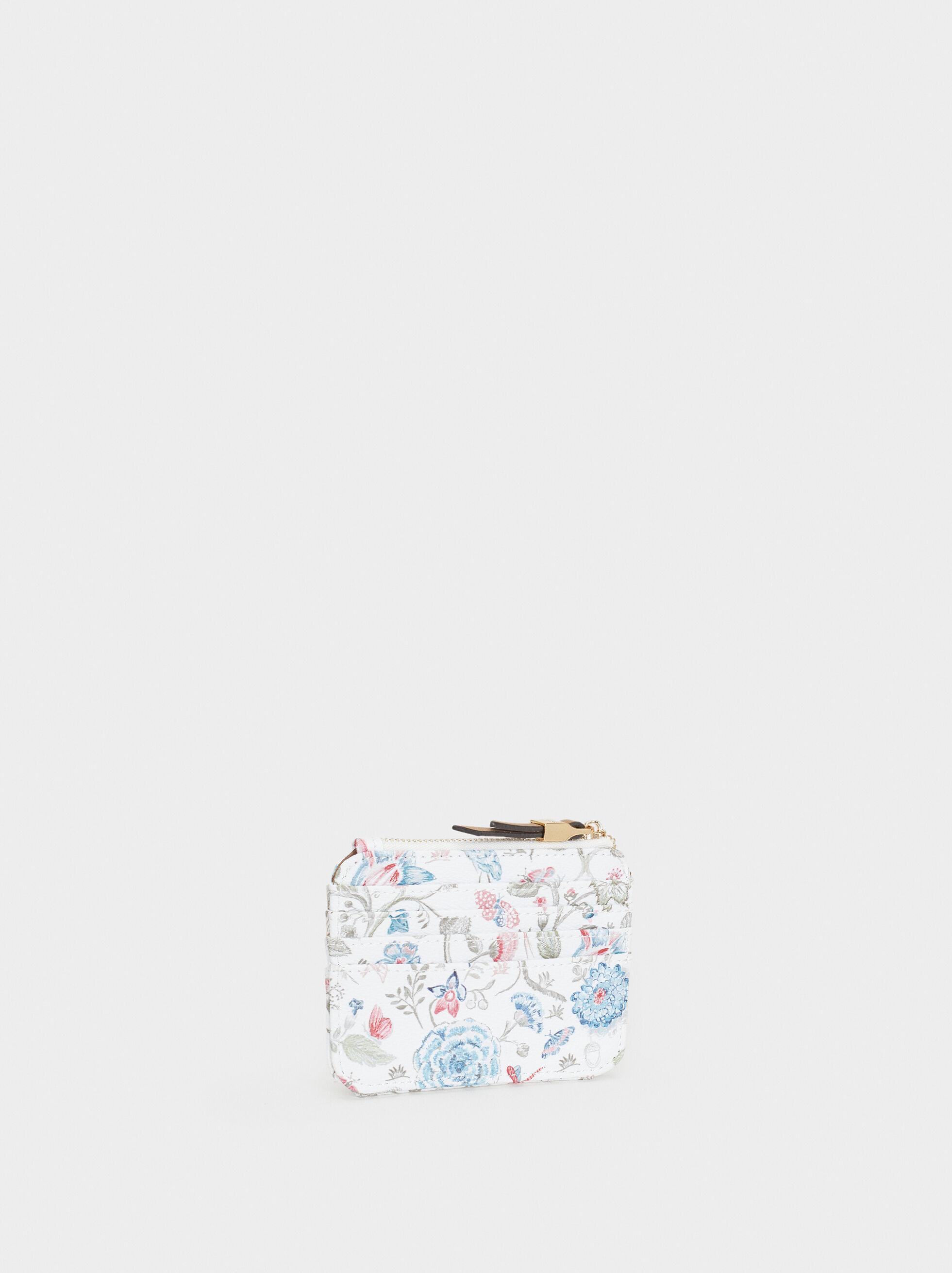 Floral Print Card Holder, Pink, hi-res