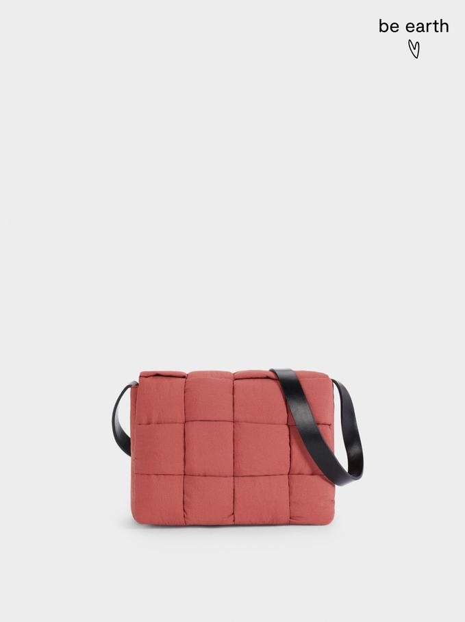 Nylon Crossbody Bag Made From Recycled Materials, Brick Red, hi-res