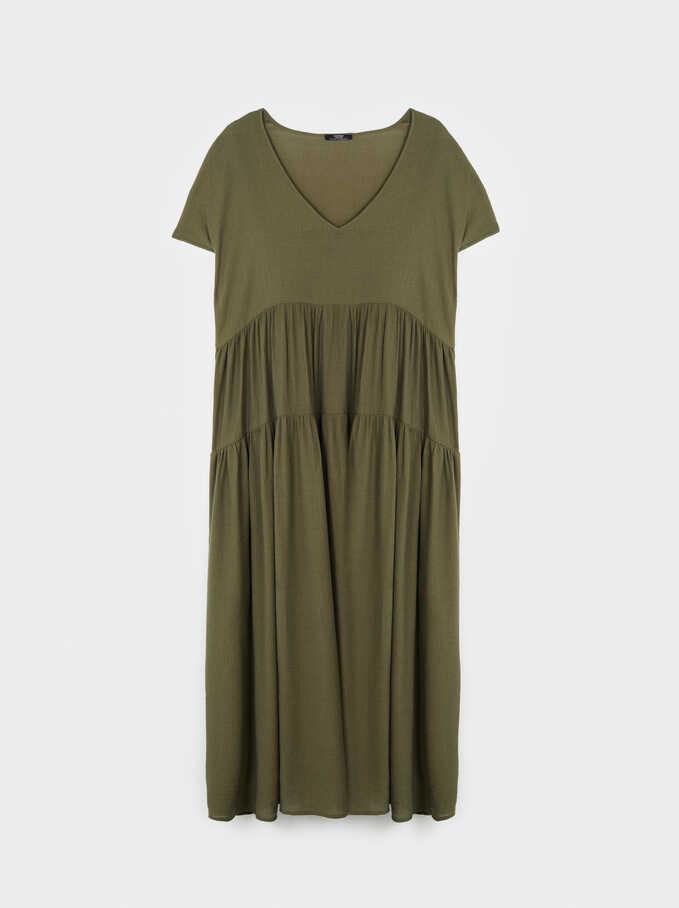 Dress With V-Neckline, Khaki, hi-res