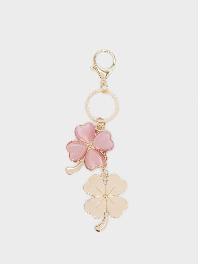 Multicoloured Floral Key Chain With Crystals, Pink, hi-res