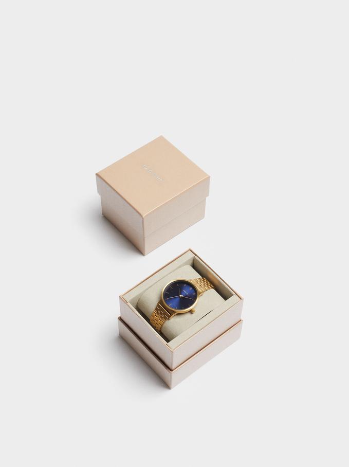 Relógio De Aço Com Esfera A Contrastar, Dourado, hi-res