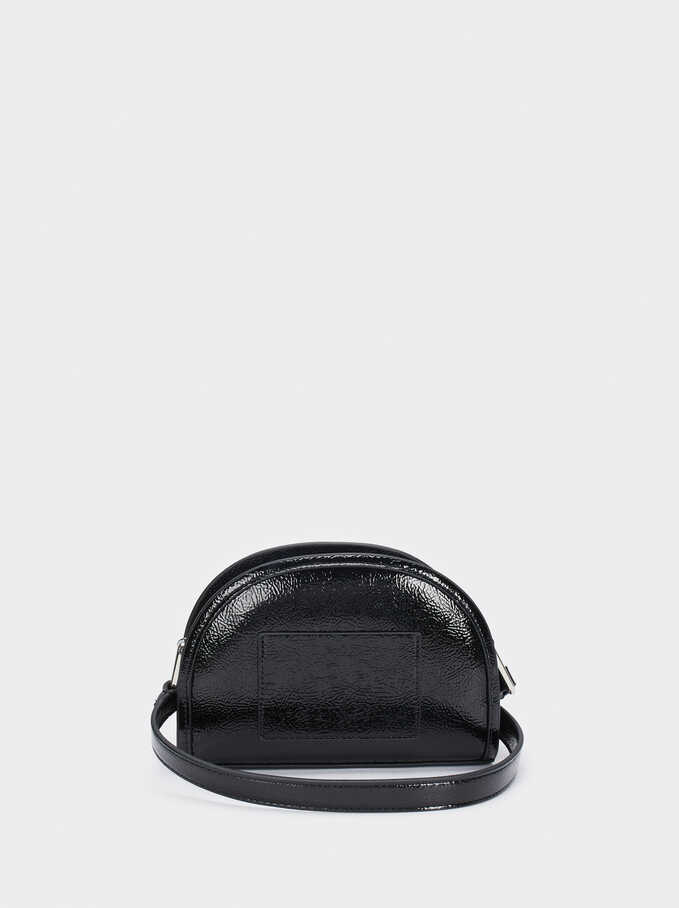 Patent Finish Shoulder Bag, Black, hi-res