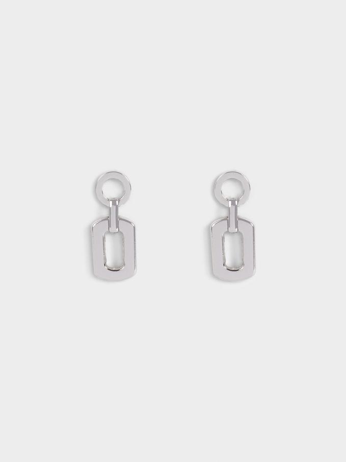 Geometric Earrings, Silver, hi-res
