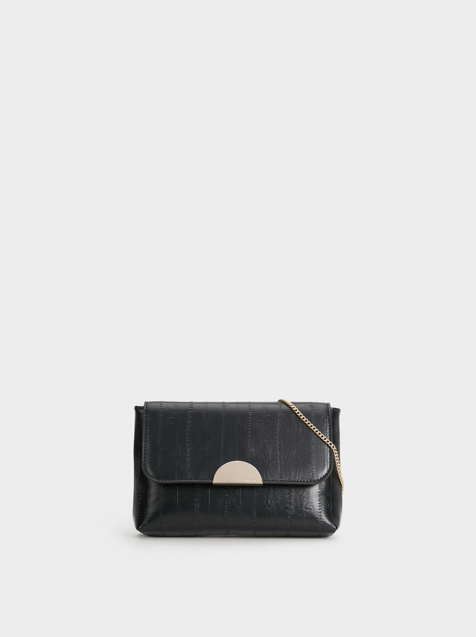 Embossed Party Clutch, Black, hi-res