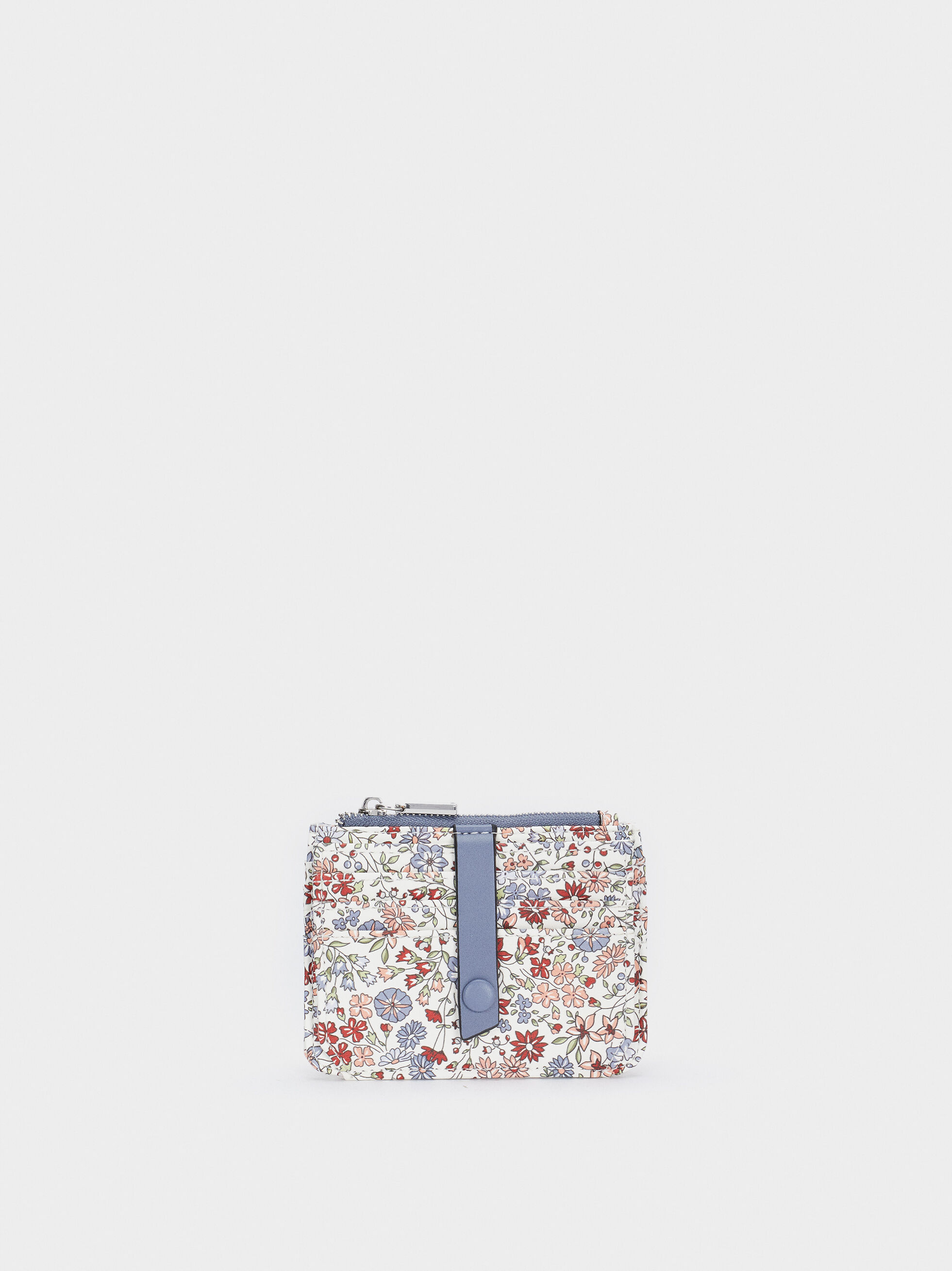Floral Print Card Holder With Purse, Blue, hi-res