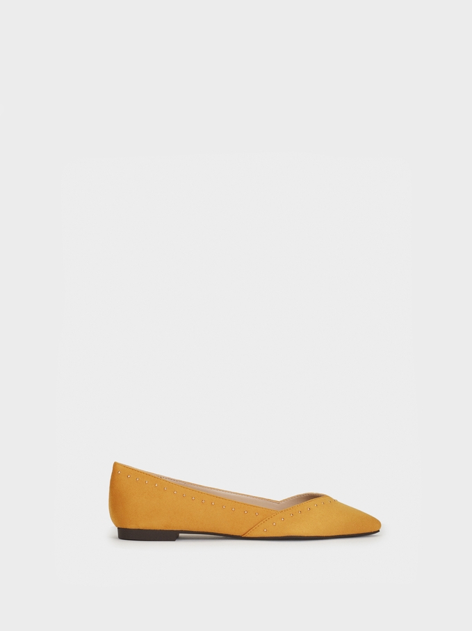 Ballerinas With Studs, Mustard, hi-res