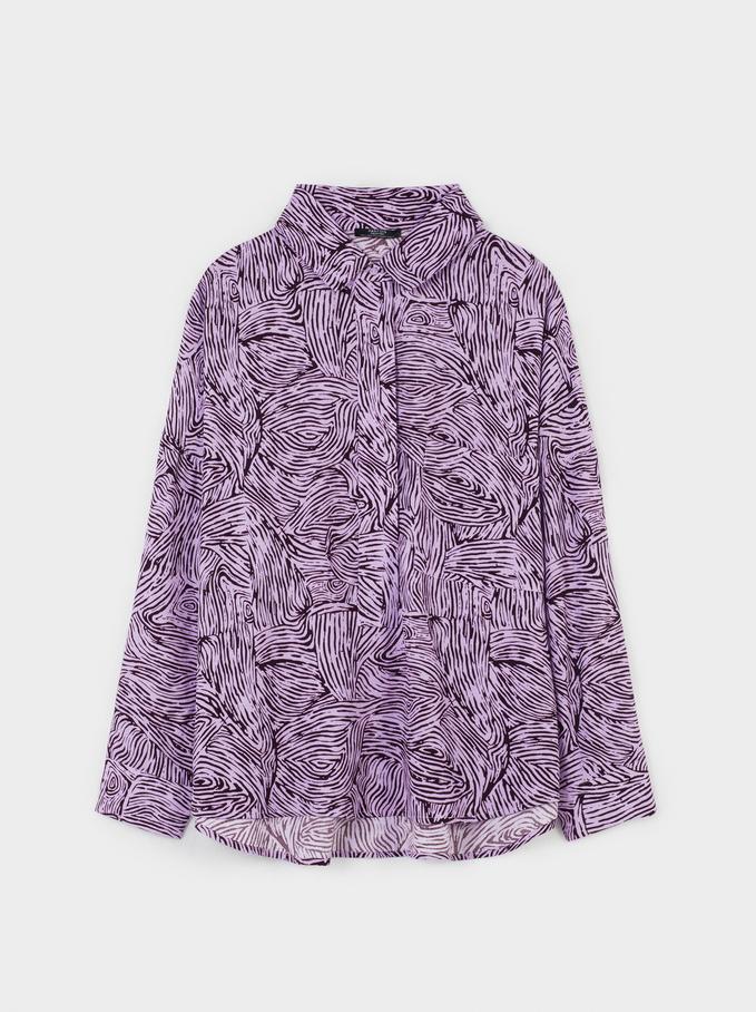 Printed Loose-Fitting Shirt, Violet, hi-res