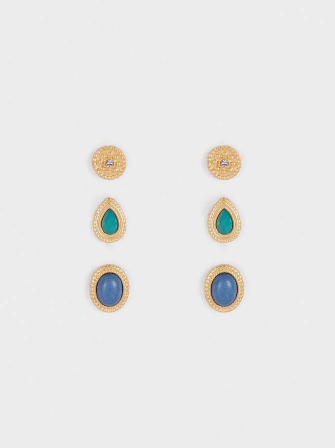 Set Of Zorba Stone Earrings, Multicolor, hi-res