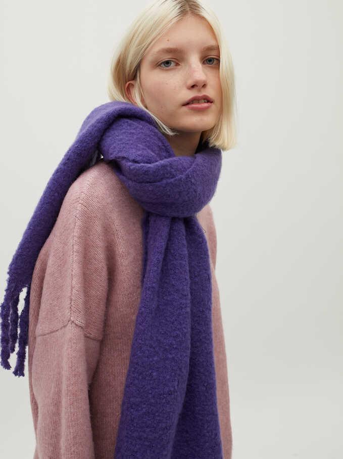 Blanket Scarf With Fringing, Purple, hi-res