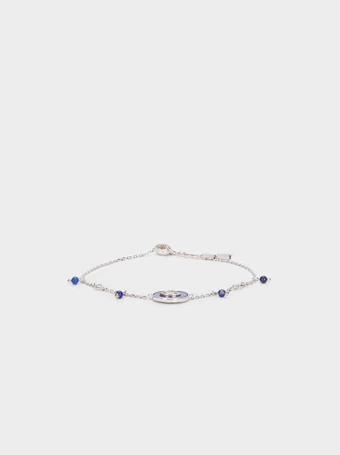 Adjustable 925 Silver Stone And Eye Bracelet, Blue, hi-res