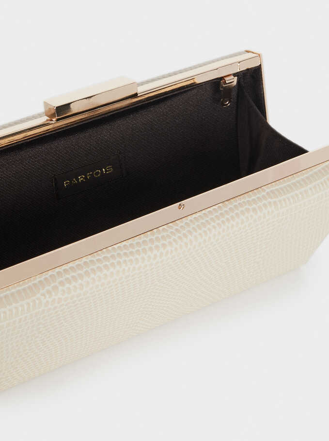 Embossed Faux Snakeskin Clutch, Beige, hi-res
