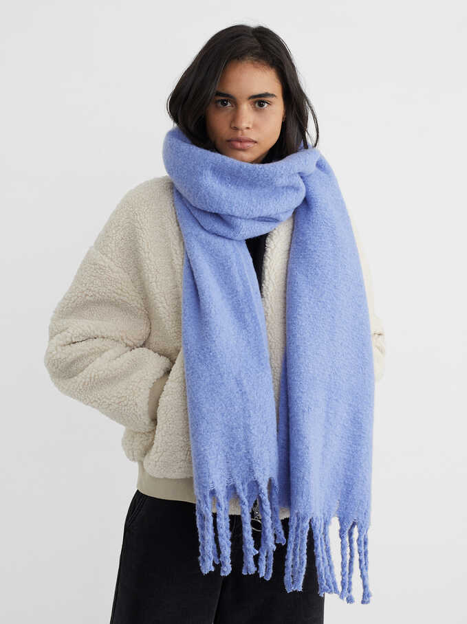 Blanket Scarf With Fringing, Blue, hi-res