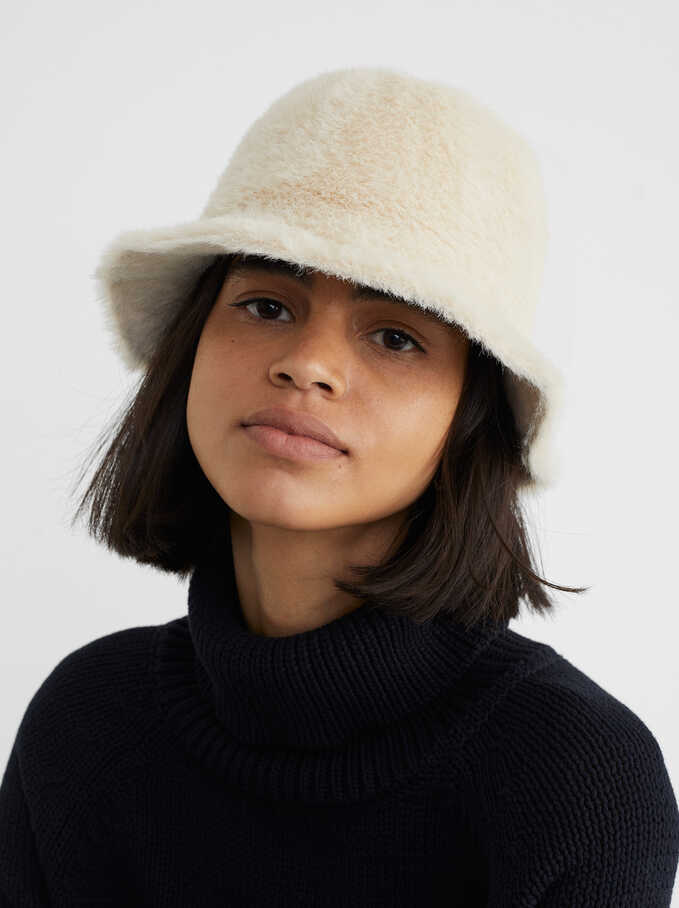 Faux Fur Hat, Beige, hi-res