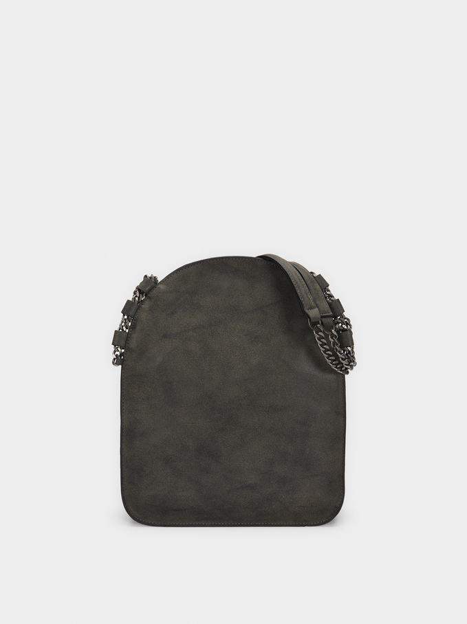 Tote Bag With Chain Strap, Black, hi-res