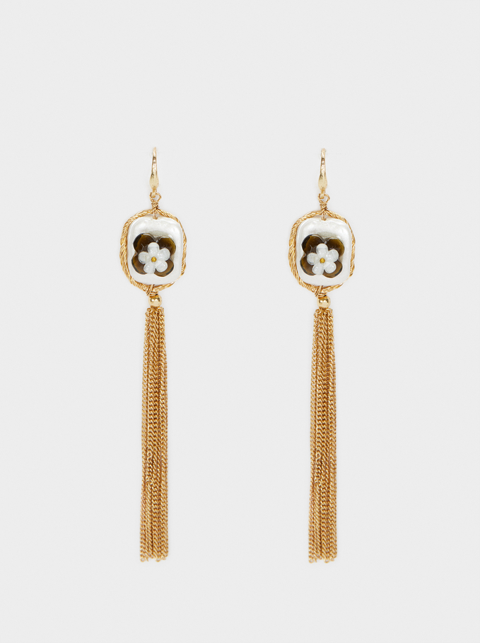 Extra-Long Golden Earrings, Golden, hi-res
