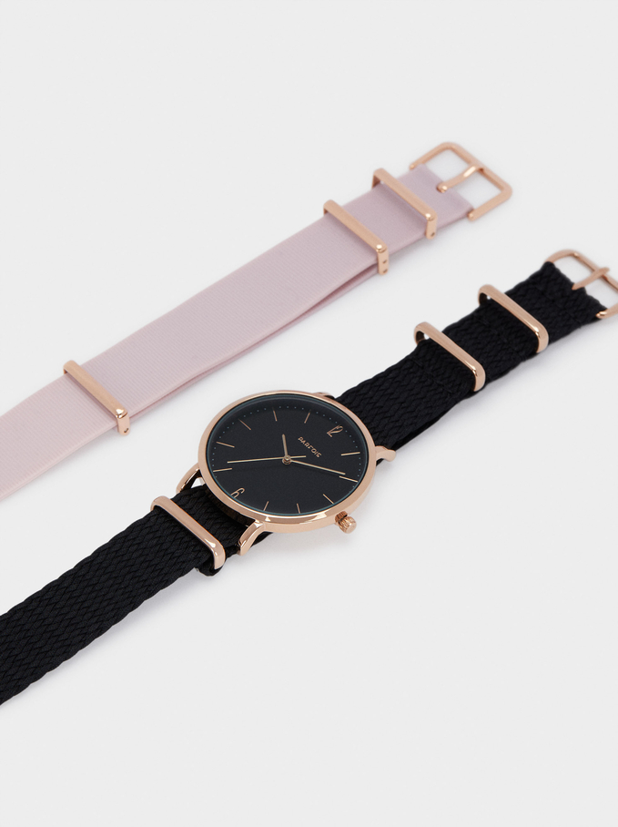 Watch With Interchangeable Straps, Pink, hi-res