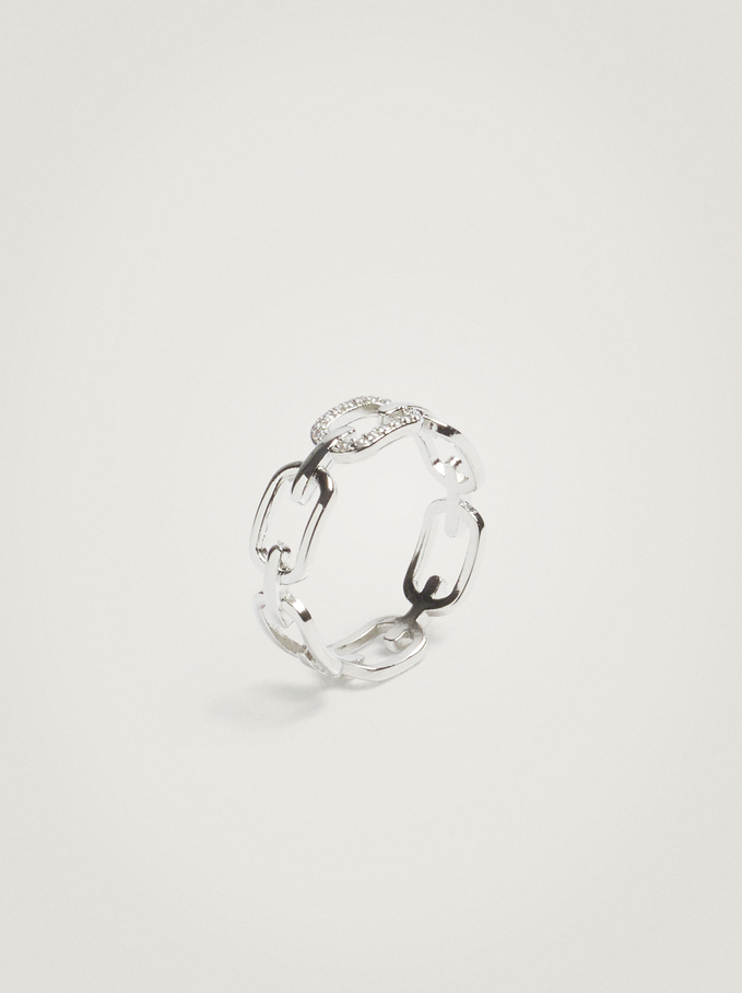 Ring With Links And Crystals, Silver, hi-res
