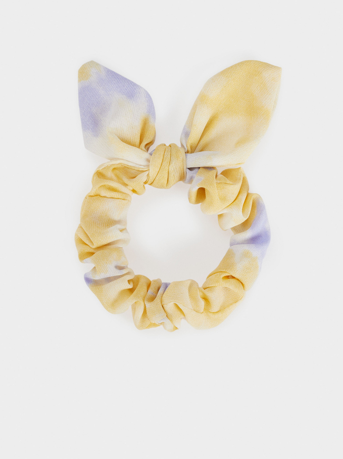 Tie-Dye Scrunchie With A Bow, Multicolor, hi-res