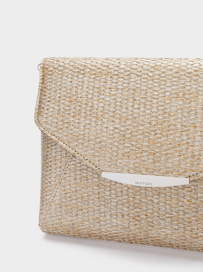 Textured Raffia Handbag, Golden, hi-res