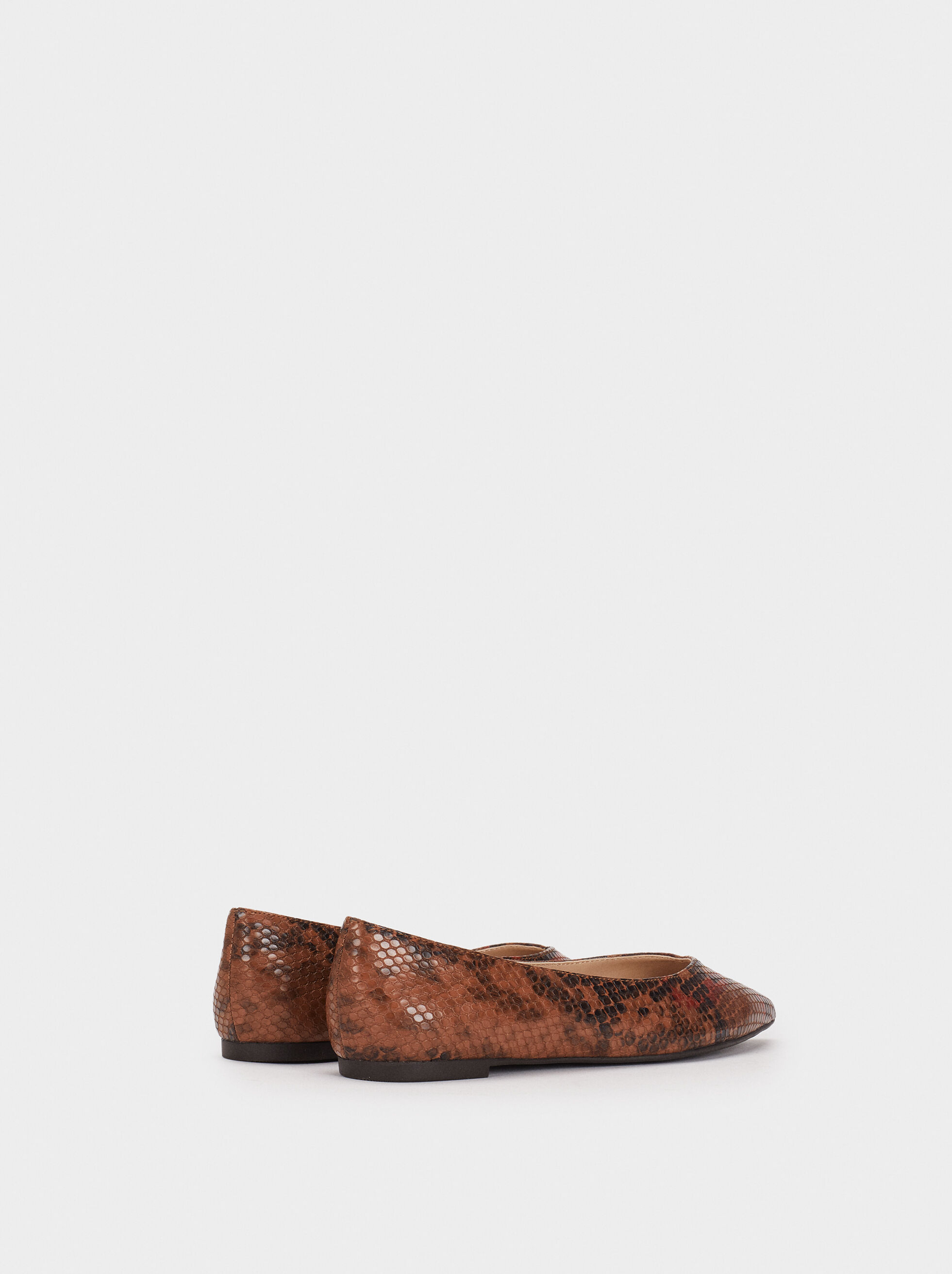 Snakeskin Embossed Ballerinas, Brown, hi-res