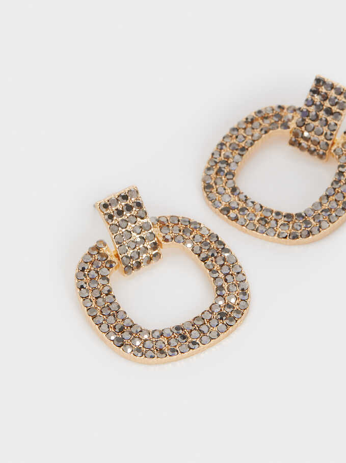 Medium Earrings With Crystals , Grey, hi-res
