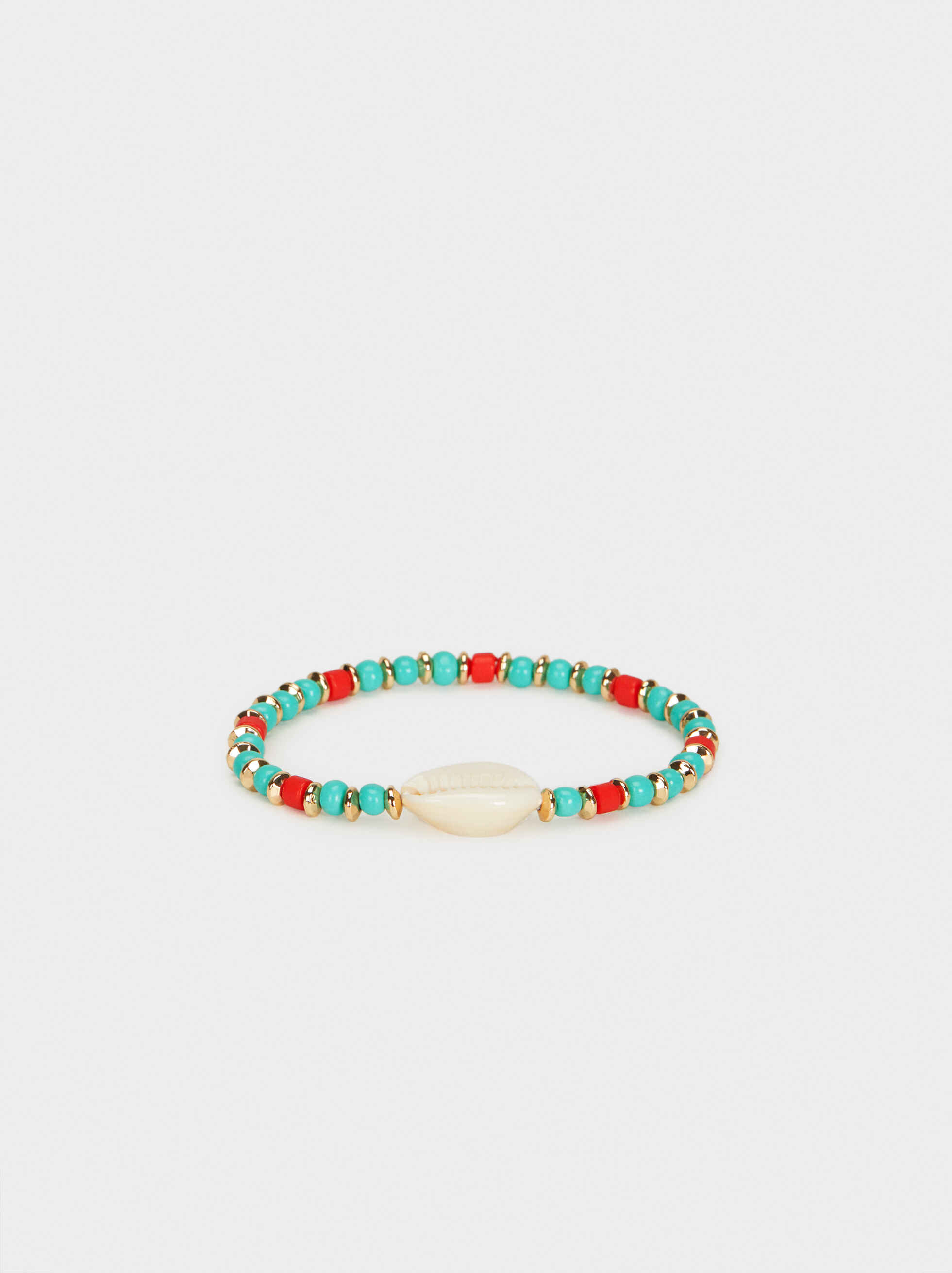 Elastic Bracelet With Shell , Multicolor, hi-res