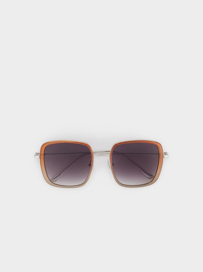 Kwadratowe Okulary Przeciwsloneczne, Karmelowy, hi-res