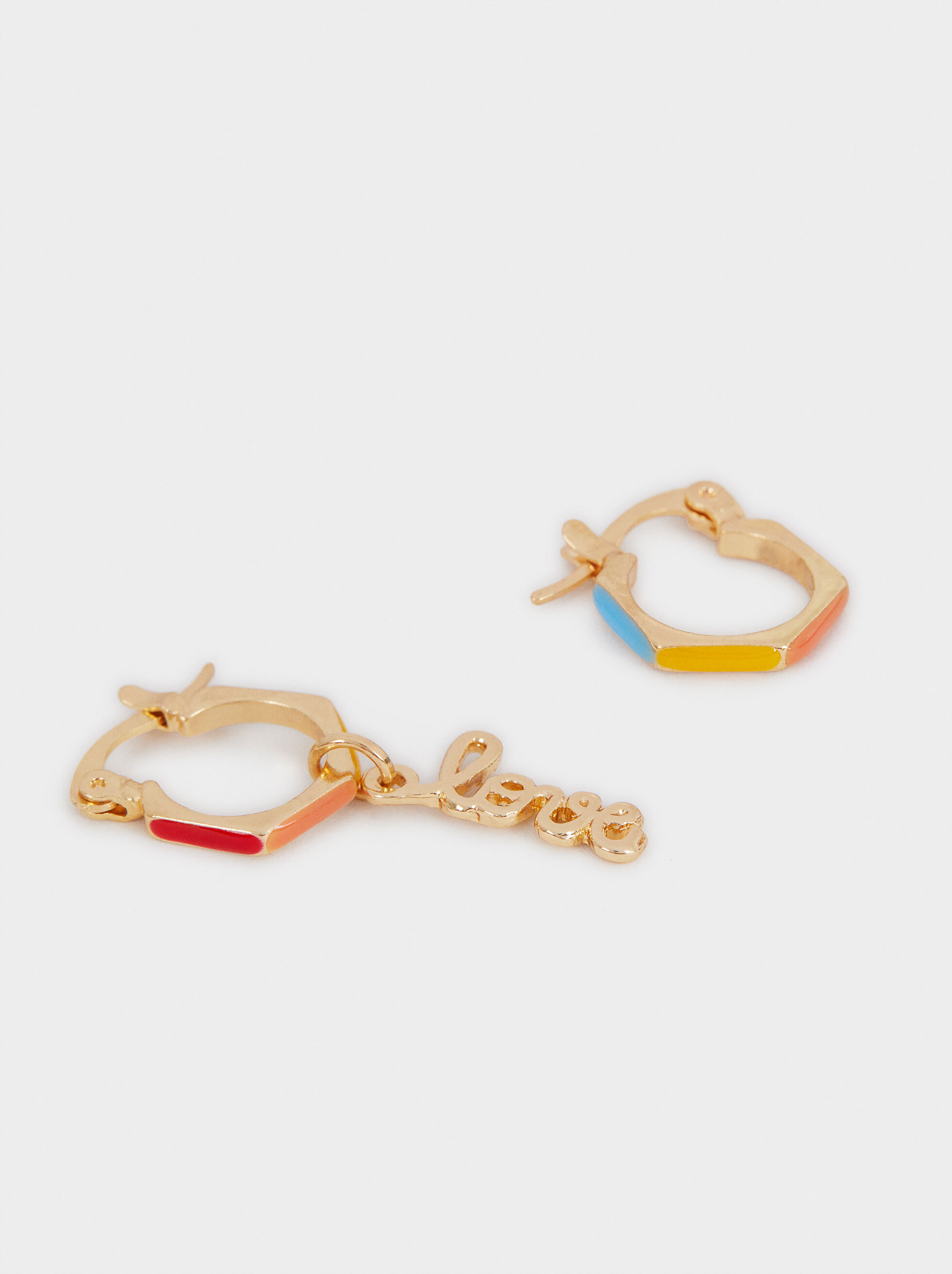 Multi-Coloured Love Medium Hoop Earrings, Multicolor, hi-res