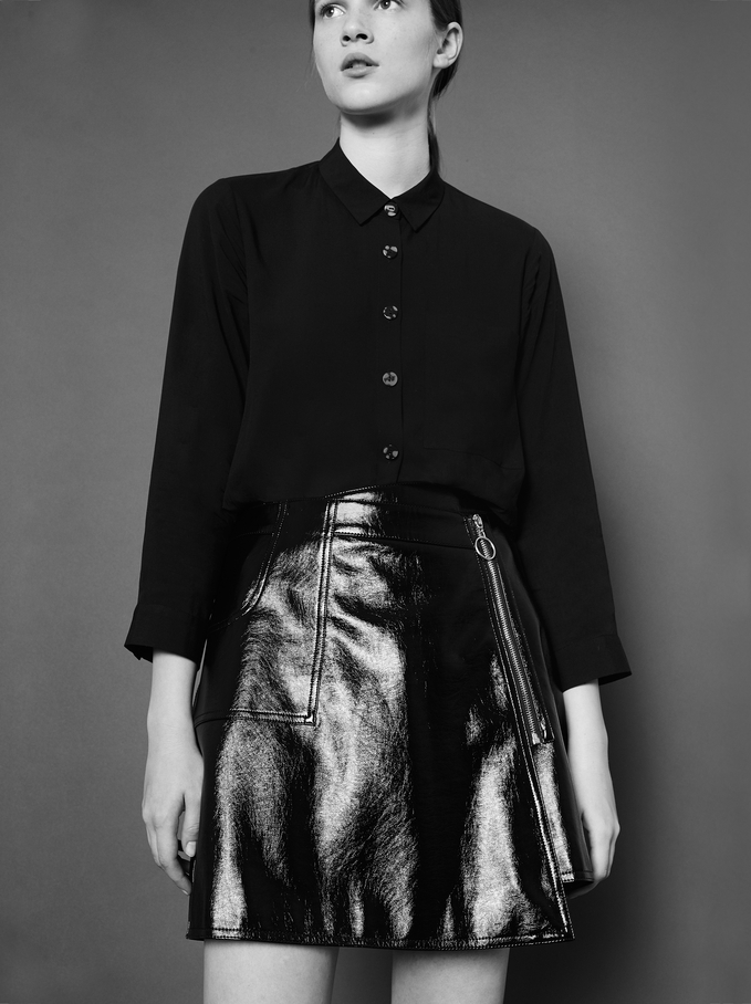 Faux Leather Skirt With Zip, Black, hi-res