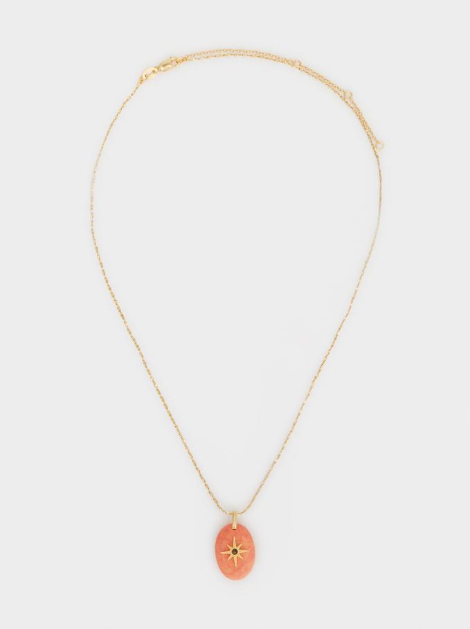 Collar Corto De Plata 925 Colgante Estrella, Coral, hi-res