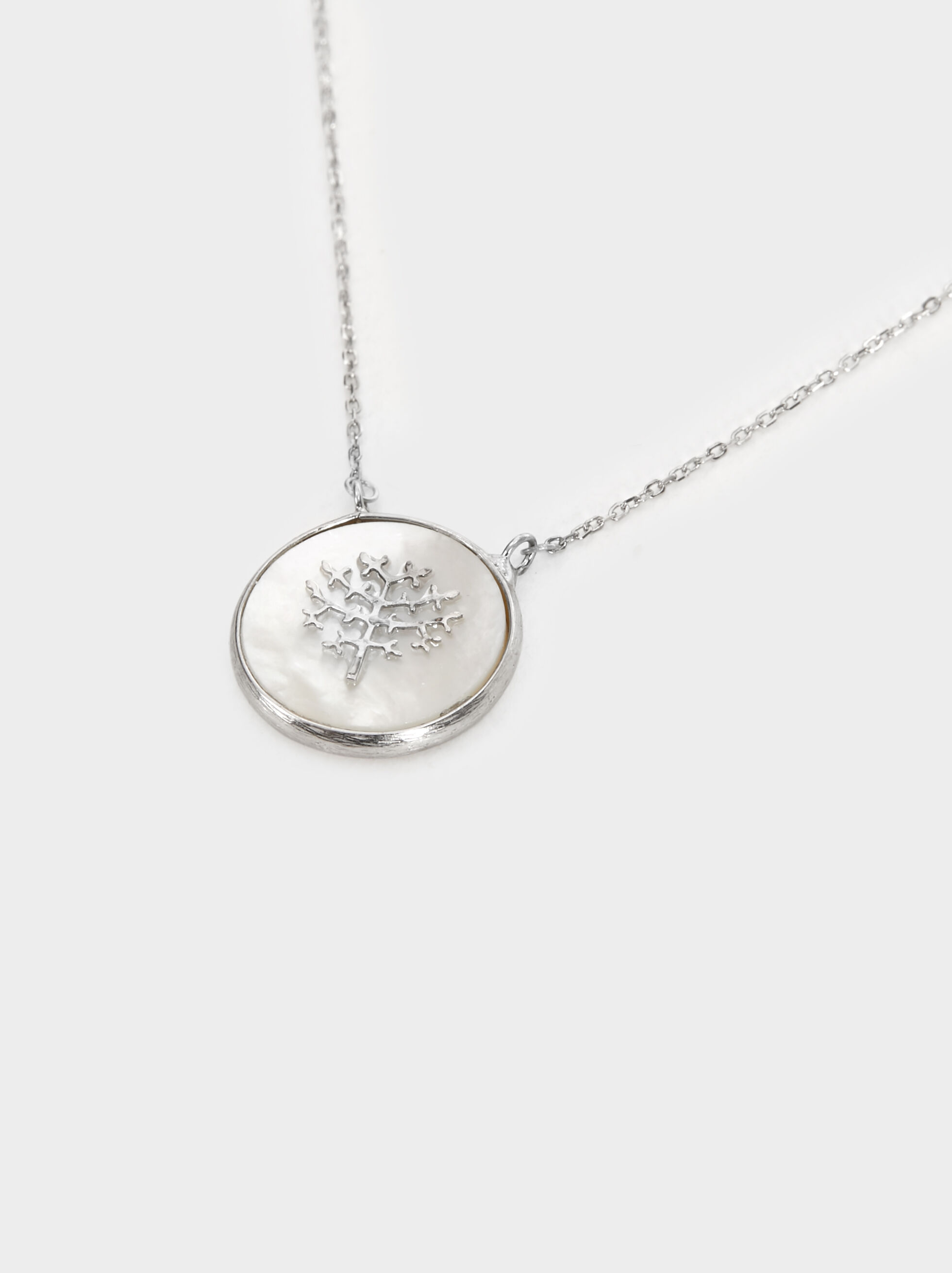 Short 925 Silver Tree Necklace, Beige, hi-res