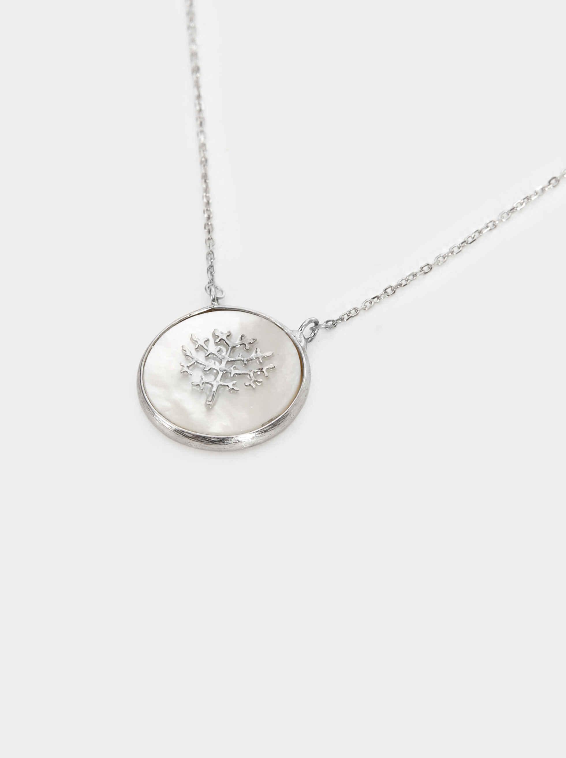 Short 925 Silver Tree Necklace, Beige, hi-res
