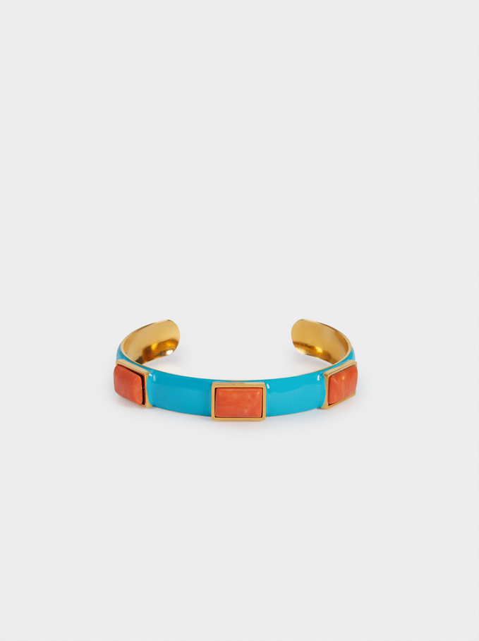 Stainless Steel Bracelet With Stones, Multicolor, hi-res