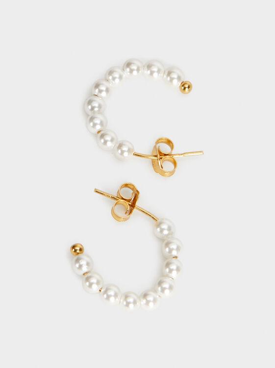 Small Silver 925 Hoop Earrings With Faux Pearls, Beige, hi-res