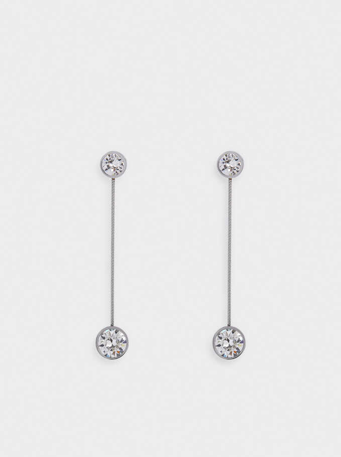 Long Stainless Steel Earrings Swarovski Crystals, Silver, hi-res