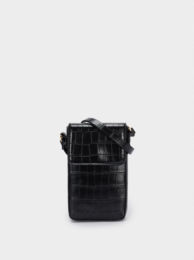 Étui Pour Téléphone Portable Gravé Avec Bandoulière, Noir, hi-res