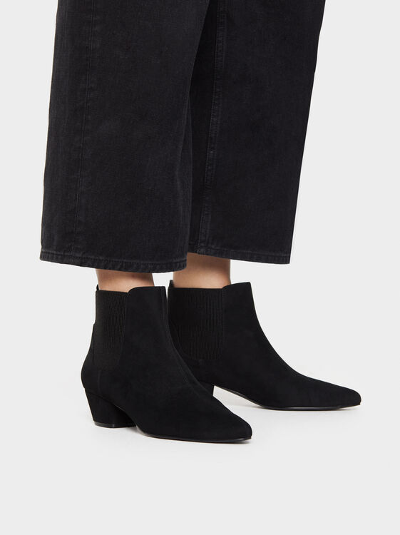 Faux Suede Ankle Boots With Elastic Side Tabs, , hi-res