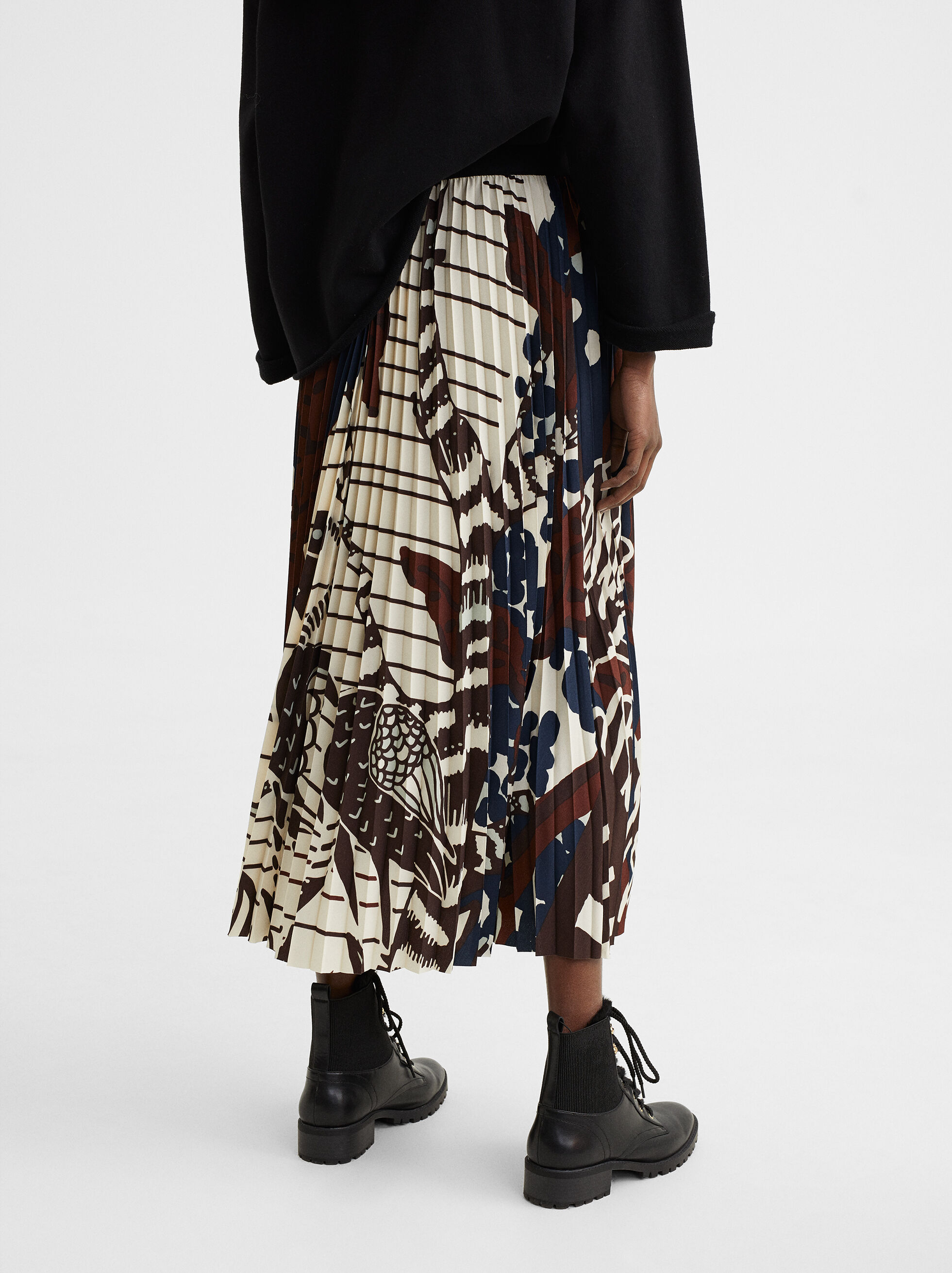 Printed Midi Skirt, Multicolor, hi-res
