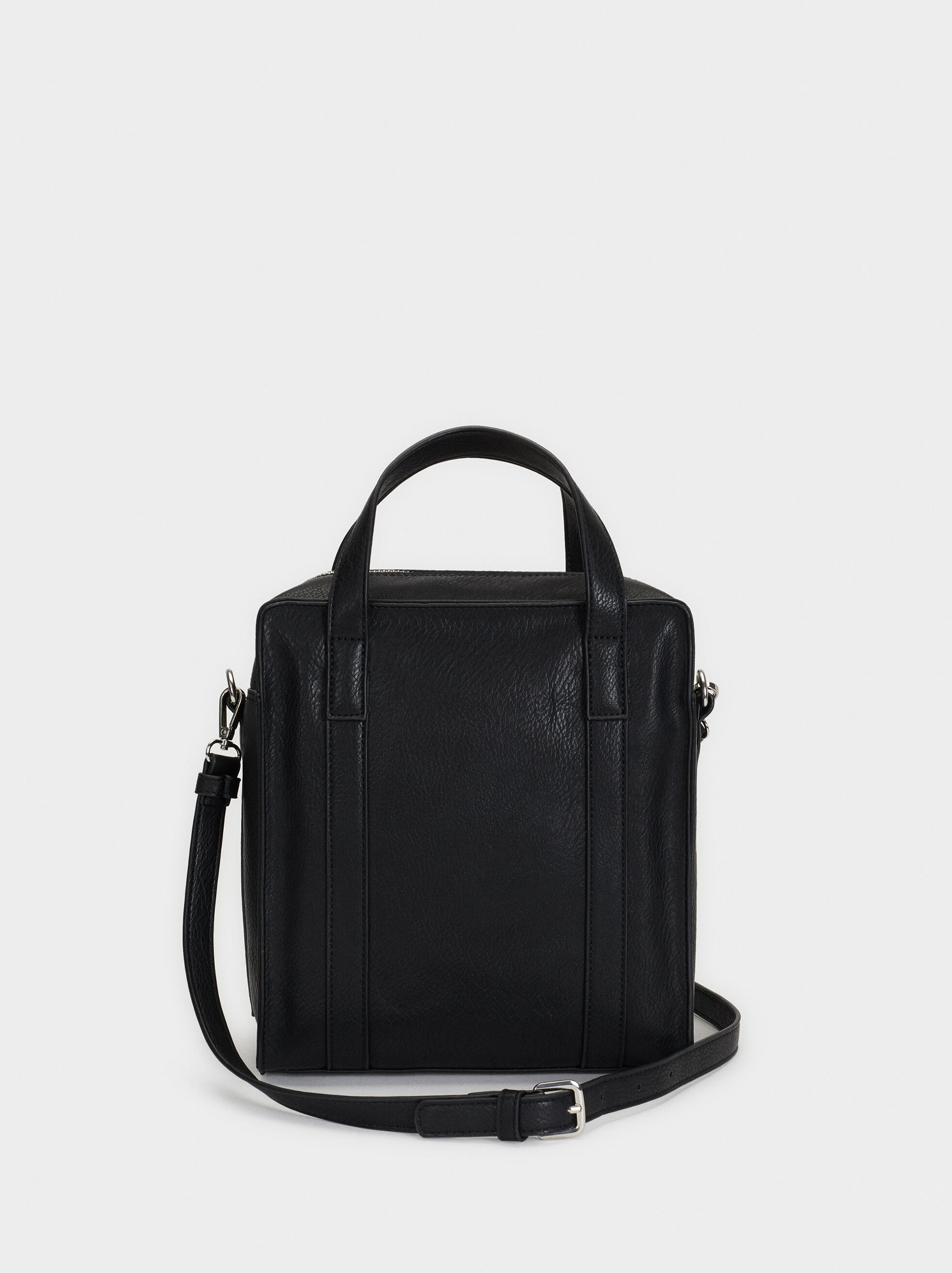 Zip-Fastening Tote Bag, Black, hi-res