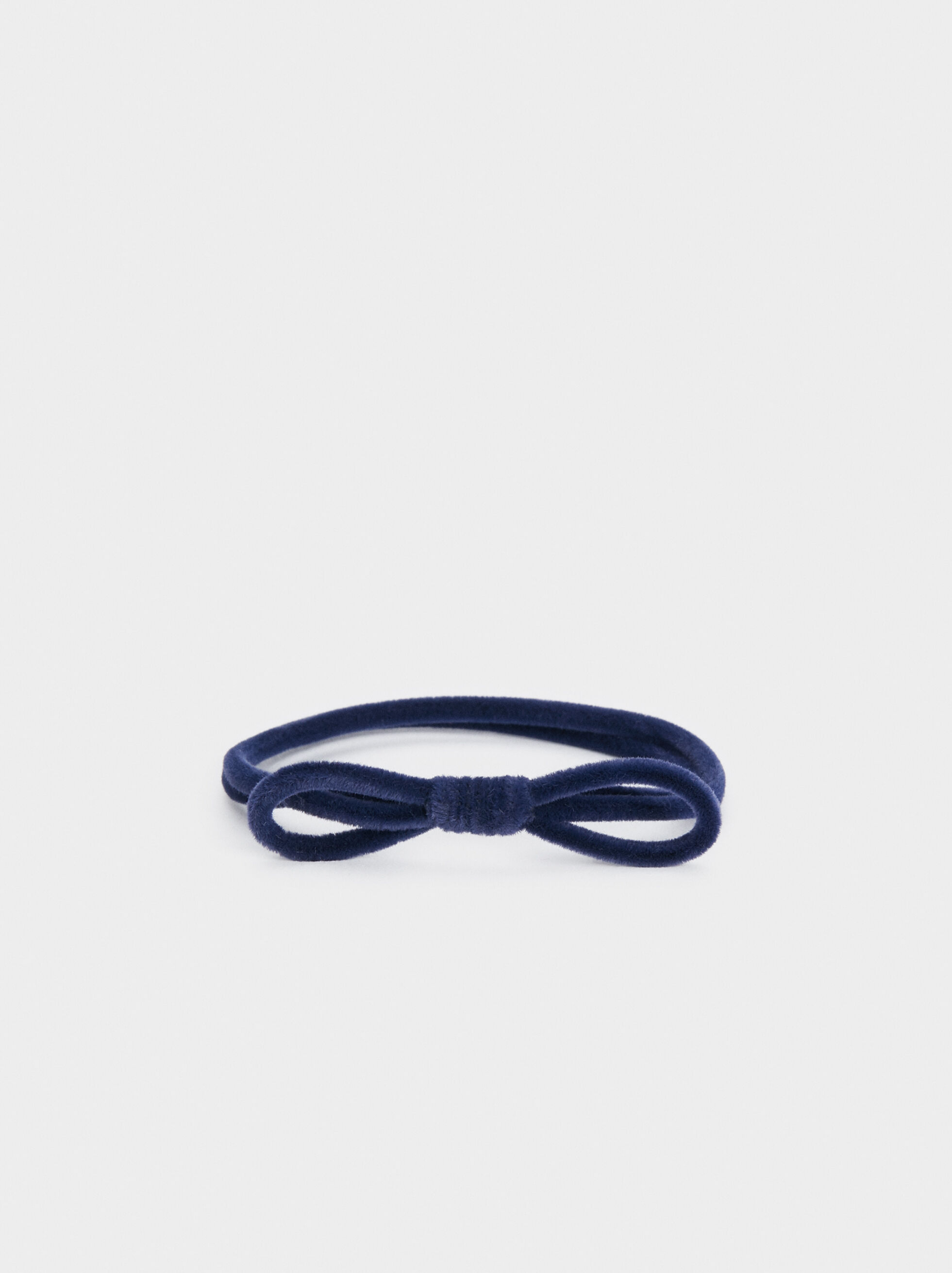 Velvet Hair Tie, Navy, hi-res